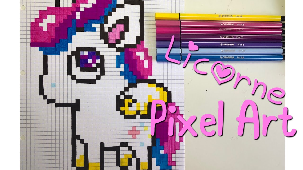 Pixel Art Pas A Pas Licorne Kawaii Youtube