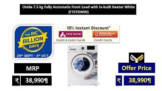 Onida 7.5 kg Fully Automatic Front Load Washing Machine White (F75TDWW)