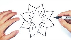 Cómo dibujar una Flor Linda Paso a Paso | Dibujo de Flor Bonita