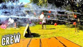 Epic Firework Battle (Mario Kart Style). 30 balloons 300 roman candles