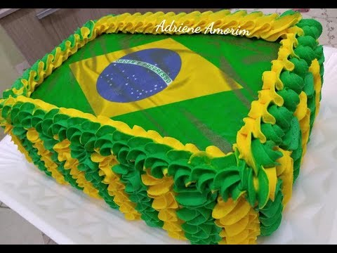 Decorando bolo do Brasil ( Copa 2018 )