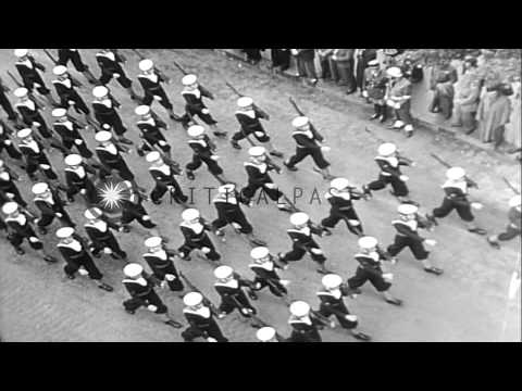 French General Charles de Gaulle and Henri Honore Giraud review parade in Algeria...HD Stock Footage