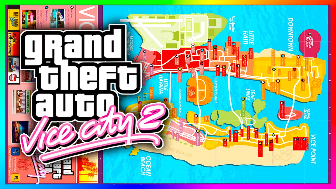 Incredible GTA Vice City 20 Revised Concept Map  Updated Islands