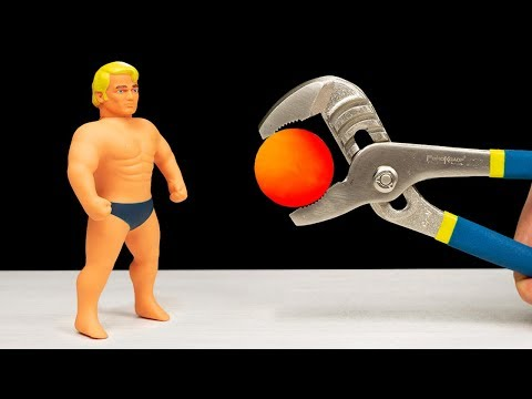 EXPERIMENT: Glowing 1000 degree METAL BALL VS STRETCH ARMSTRONG
