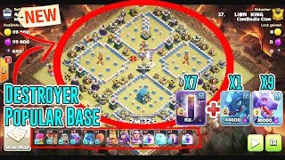 NEW 2019!! DESTROYER ARMY ATTACK POPULAR BASE - BAT SPELL+DRAGON - HOG & MINERS ( Clash of Clans )