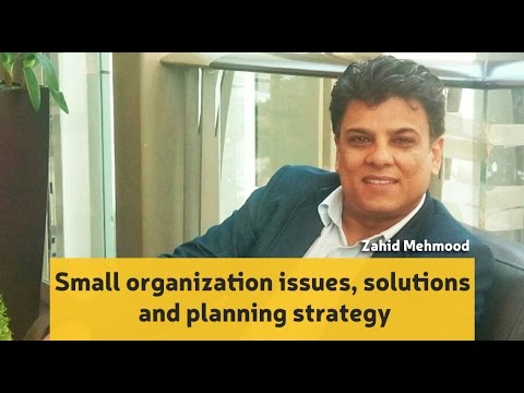 Small organization issues, solutions  and planning strategy, Zahid Mahmood