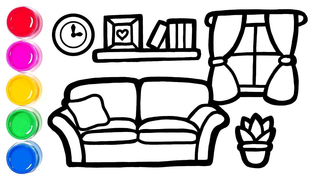 How to draw Living Room easy | Simple drawing for kids ...