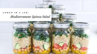 Lunch in a Jar: Mediterranean Quinoa Chickpea Salad