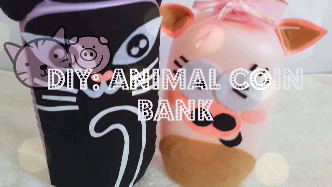 diy animal coin bank recycle your emptied container cat. Black Bedroom Furniture Sets. Home Design Ideas