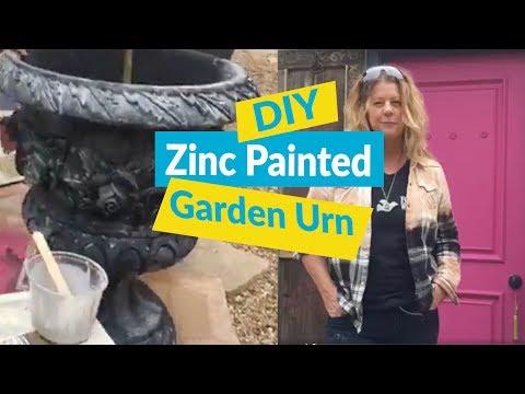 DIY Zinc Painted Garden Urn