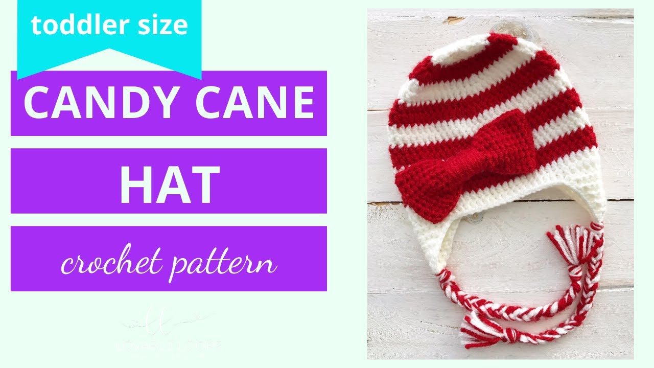 Candy Cane Beanie Hat Crochet Pattern Tutorial Crochet Bow Pattern