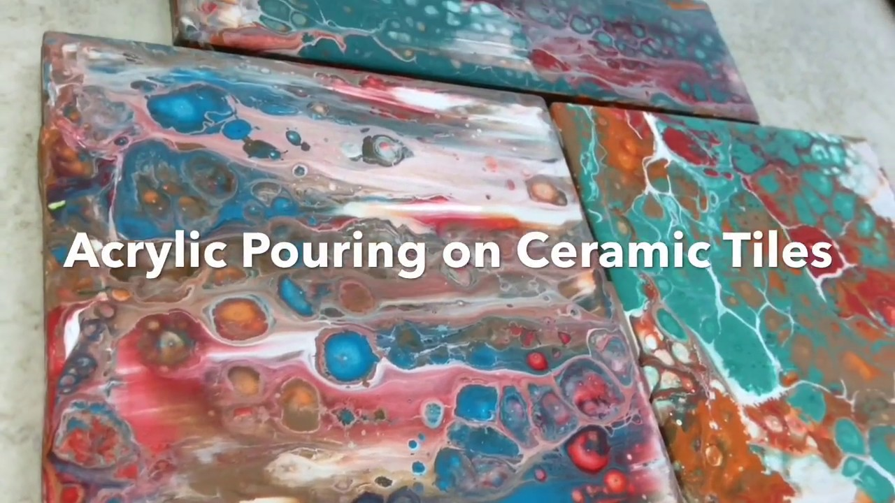 Fluid Painting on Ceramic Tiles - Swipe and Flip Cup 🔶🔷♢ - YouTube
