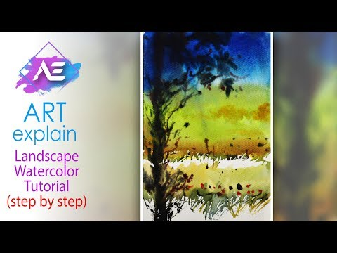 Blue Sky Watercolor Painting Landscape Tutorial | How to paint a watercolor landscape | Art Explain