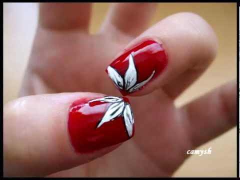 Red nails with white flowers  Nail Art Tutorial  YouTube