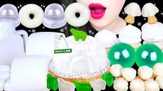 ASMR WHITE GREEN FOODS 곰표 케이크, 흰색 음식, 대왕 마쉬멜로우 먹방 GRAPE JELLY, MARSHMALLOW,CHEESE CAKE EATING SOUNDS