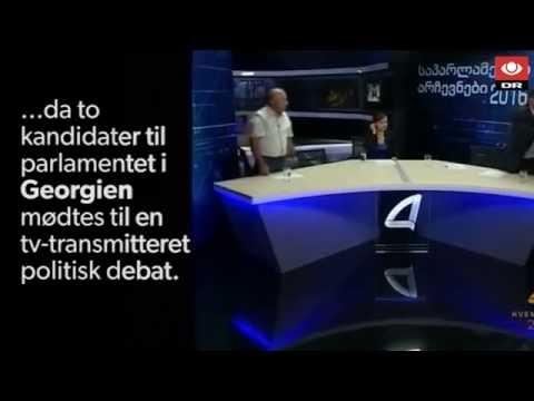 Politisk tv-debat ender i slåskamp i Georgien - DR Nyheder