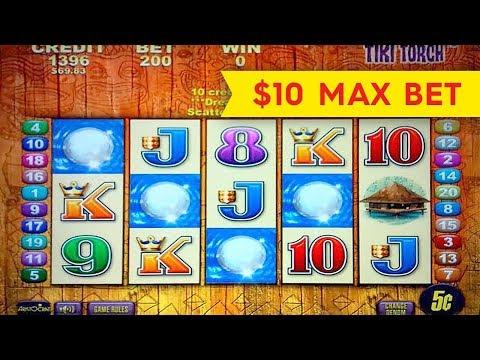 Tiki Torch Slot Machine $10 Max Bet *LIVE PLAY* Bonus!