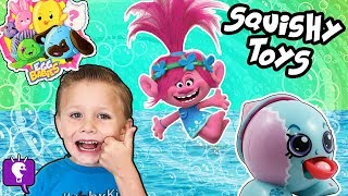 KIDS OPEN SQUISHY TOYS at Pool Party, Swimming Fun + FNAF