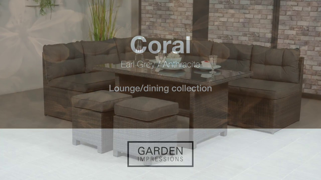 Garden impressions coral earl grey wicker lounge dining set