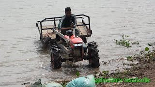 Miniature tractor crossing the canal | Mini agricultural machinery mudding
