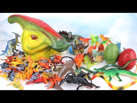 Dinosaurs In Big Head! Learn Names of Dinosaurs. Surprise eggs With Parasaurolophus Toys for Kids.