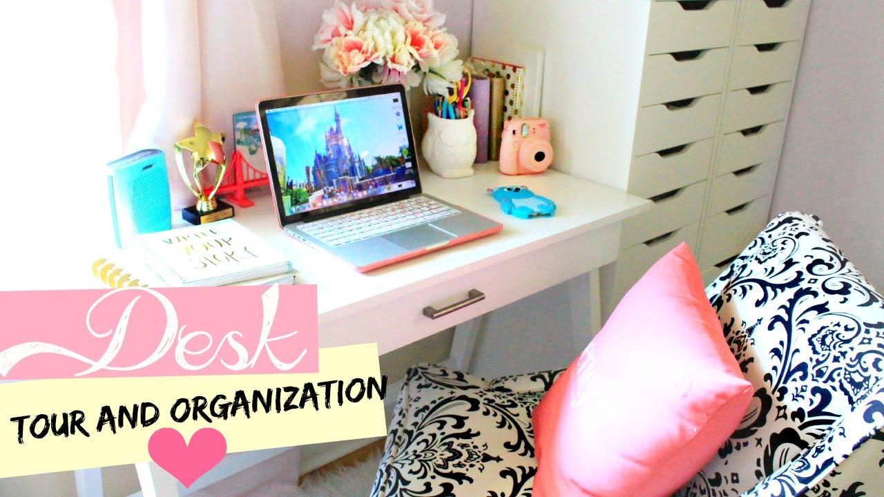 Desk tour organization belinda selene youtube - Cute ways to organize your bedroom ...