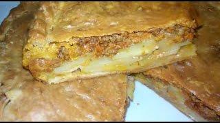 Пирог из дрожжевого теста с фаршем и картофелем!!!