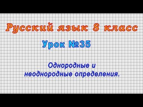 Русский язык 8 класс (Урок№35 - Однородные и неоднородные определения.)