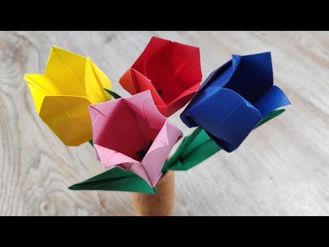 DIY Origami Tulip Flowers | How To Make Paper Bouquet Flower | Mother's day Craft Tutorial
