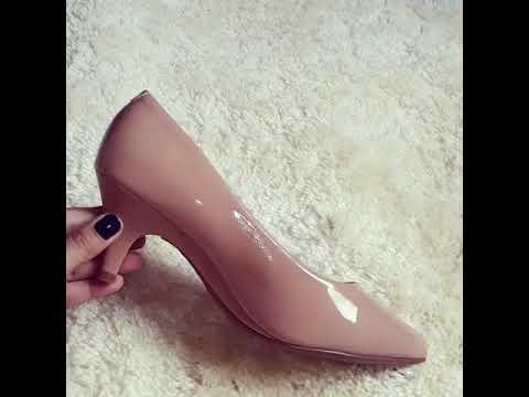 6a0cb18d13 Sapato Scarpin Salto Baixo Verniz Beira Rio Nude - YouTube