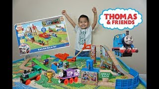 THOMAS and FRIENDS The GREAT RACE,RACE DAY RELAY WOODEN PLAYSET , FUN toy trains for kids