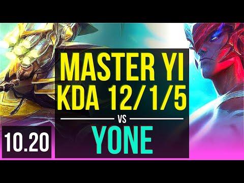 MASTER YI Vs YONE (MID) | Rank 10 Master Yi, KDA 12/1/5, 800+ Games, Legendary | KR Master | V10.20