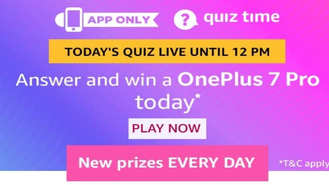 Amazon today quiz answers l Win a OnePlus 7 pro* l 18-August-19 l SriRam in  Telugu l