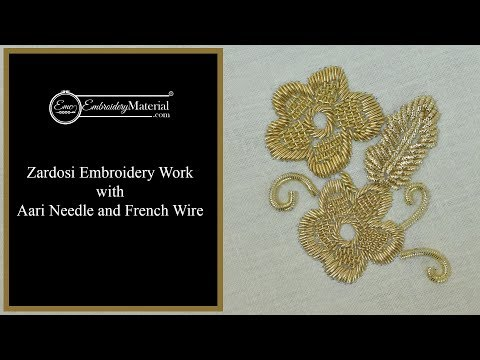 Learn how to do Zardosi Embroidery Work with Aari Needle and French Wire | Tutorial - 3