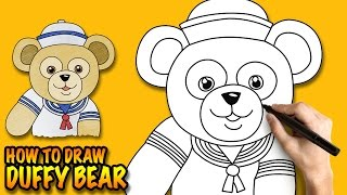How to draw Duffy the Disney Bear - Easy step-by-step drawing tutorial