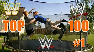 Top 100 WWE Finishers of ALL TIME  on Trampoline Part 1 (#100 - 51)