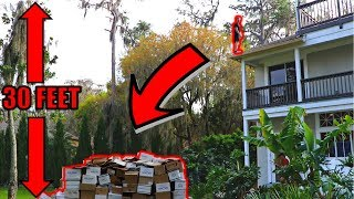 JUMPING Off 30 Foot Roof INTO Cardboard Boxes!