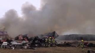 Pole barn fire in Fountain, Michigan