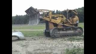 977 CAT Caterpiller Loader Dozer Crushing Old Culverts