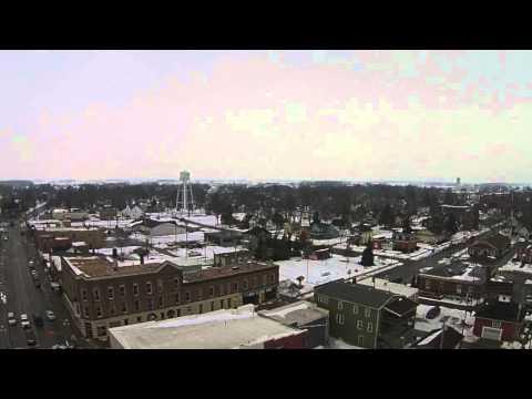 DJI Aerial downtown Oak Harbor, Ohio winter