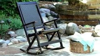 Willow Bay Folding Resin Wicker Rocking Chair Dark Espresso - Product Review Video