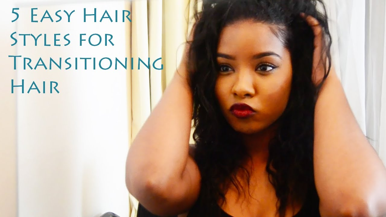 5 Easy Hairstyles For Transitioning Hair - YouTube
