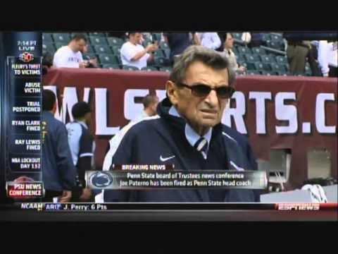 SportsCenter on ESPNEWS - Joe Paterno Fired - 10:13 PM 11/9/2011