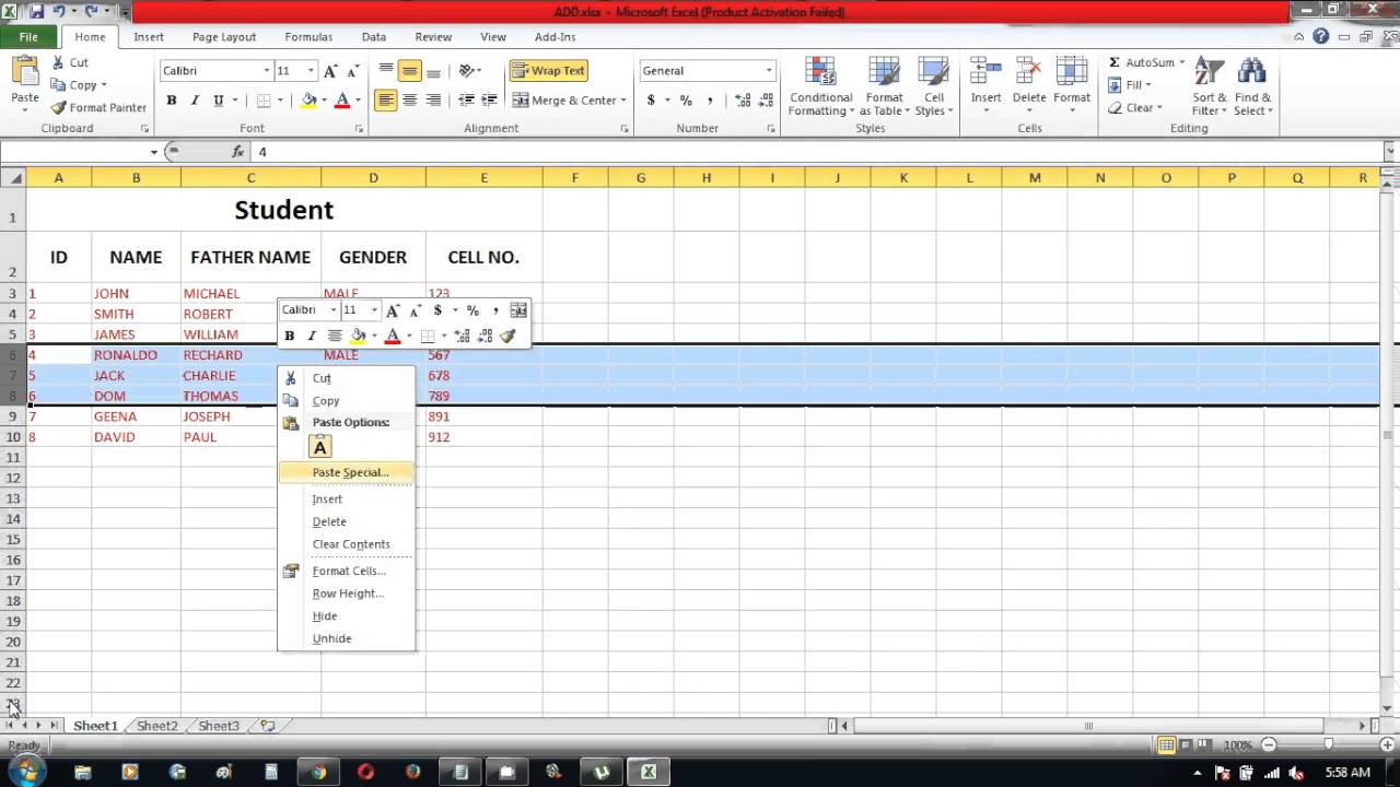 How To Add More Than One Row Or Column In MS Excel