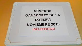 NÚMEROS GANADORES DE LA LOTERÍA NOVIEMBRE 2018 100% EFECTIVO