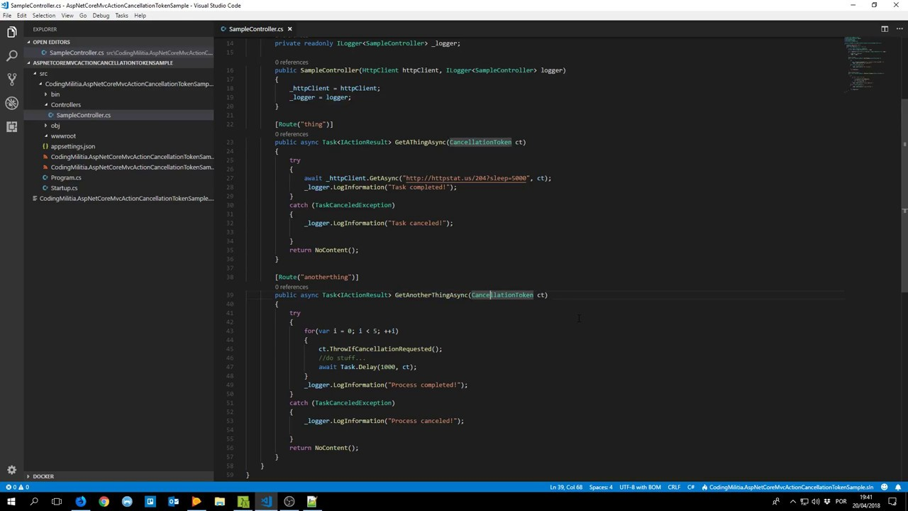 Using cancellation tokens on ASP NET Core MVC actions - DEV