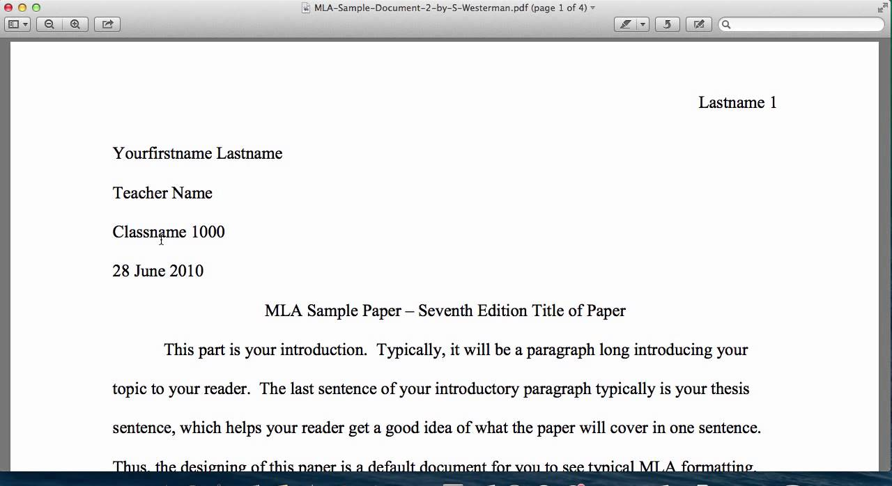 mla format 7th edition