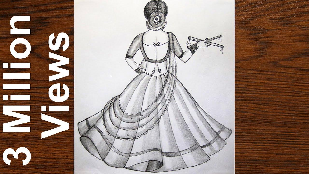 How to draw a Traditional Girl with Dandiya Dance | Indian Girl drawing | girl drawing