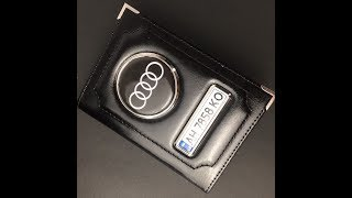 Автообложка из кожи для водительских документов с номером и логотипом машины, черного цвета (обзор)