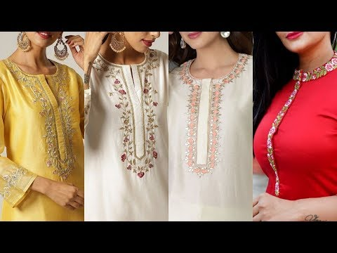 Hand Embroidery Neck Designs With Placket & Best Color Combination Ideas